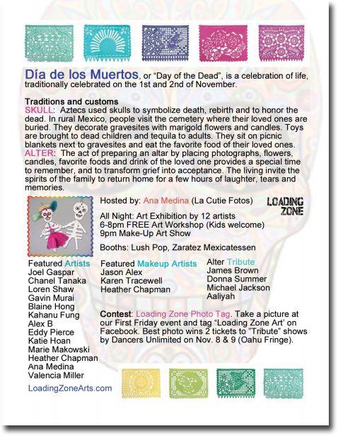 Art Zone Calendar : Loading zone first friday dia de los muerto skull art