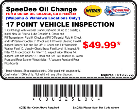 SpeeDee Oil Change rarely offers promo codes. On average, SpeeDee Oil Change offers 0 codes or coupons per month. Check this page often, or follow SpeeDee Oil Change (hit the follow button up top) to keep updated on their latest discount codes. Check for SpeeDee Oil Change's promo code exclusions/5(29).
